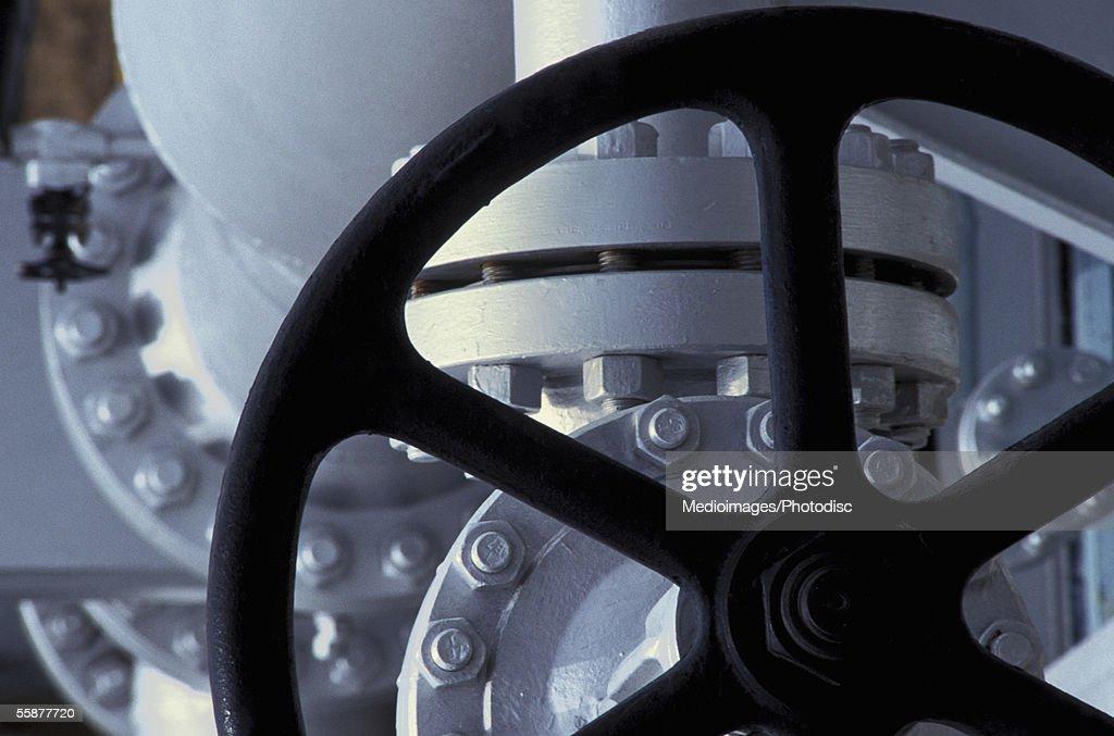 Machinery inside oil refinery
