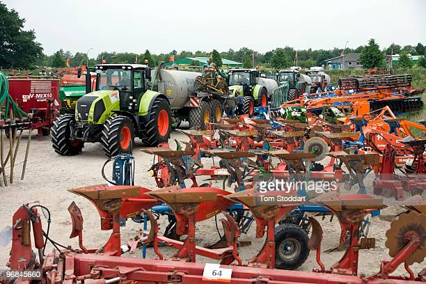 Machinery on offer prior to the sixth international AGRAVIS auction held at Meppen in Emsland Germany 8000 visitors from farming communities around...