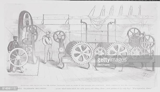 Machinery used for paving out the electric telegraph cable on board of the Niagara and Agamemnon