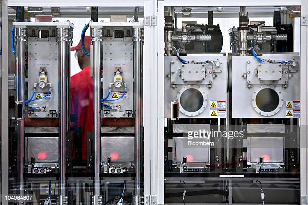 Machines are used to fabricate batteries at the A123 Systems lithium ion automotive battery manufacturing plant in Livonia Michigan US on Monday Sept...