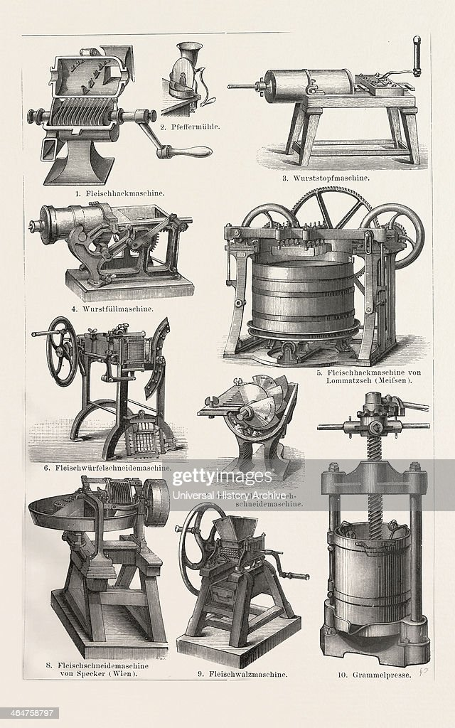 Machines To Prepare Meat Around 1890 19th Century Liszt Gourmet Archive Machine To Fill The SaUSAge Machine To Cut The Meat Food Butcher Grinder...