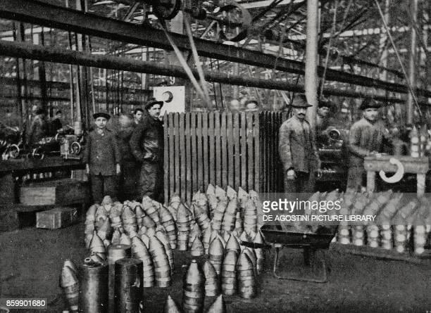 Machining of medium caliber grenades in an ammunition factory Italy World War I from L'Illustrazione Italiana Year XLIII No 14 April 2 1916