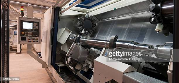 CNC machining tool.  Modern industrial lathe.