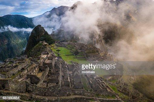 Machu Picchu at Sunrise and Clouds