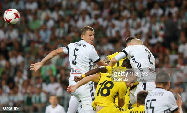 Maciej Dabrowski Michal Pazdan in action during match UEFA Europa League playoff Legia Warsaw and FC Sheriff Tiraspol in Warsaw Poland on 17 August...