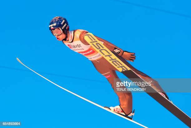 Maciej Kot from Poland soars during the FIS Ski Jumping World Cup Men´s Team HS225 in Vikersund on March 18 2017 / AFP PHOTO / NTB Scanpix / Terje...