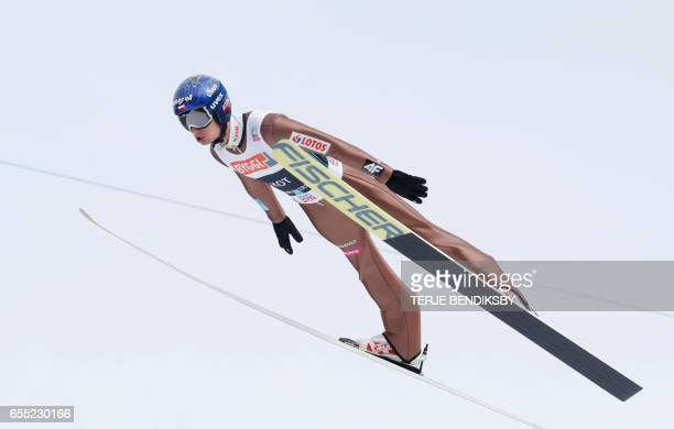 Maciej Kot from Poland soars during trial round of FIS Ski Jumping World Cup Men´s HS225 in Vikersund on March 19 2017 / AFP PHOTO / NTB Scanpix /...