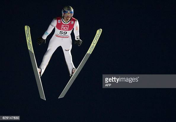 Maciej Kot of Poland competes during the FIS World Cup Ski Jumping HS 138 competition on December 11 2016 in Lillehammer Norway / AFP / NTB Scanpix /...