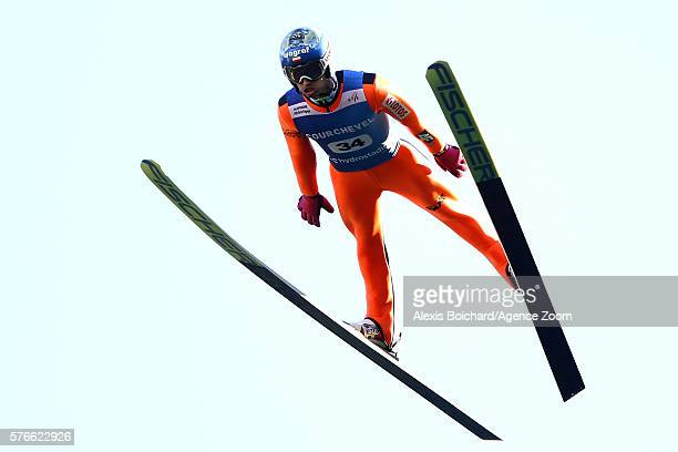 Maciej Kot of Poland takes the 1st place during the Finals of the FIS Grand Prix Ski Jumping 2016 on July 16 2016 in Courchevel France