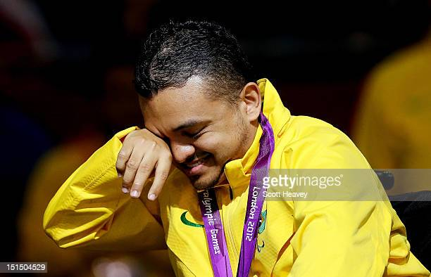 Maciel Sousa Santos of Brazil celebrates winning Gold in the Individual BC2 Boccia on day 10 of the London 2012 Paralympic Games at ExCel on...