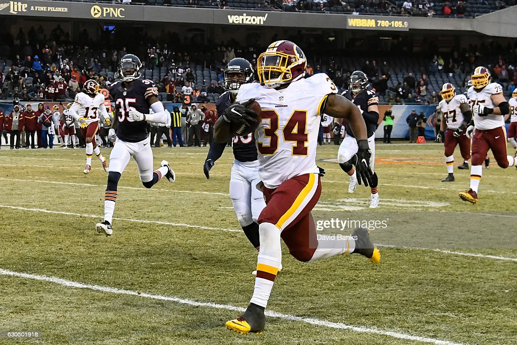 Mack Brown #34 of the Washington Redskins returns a 61 yd. touchdown in the fourth quarter against the Chicago Bears at Soldier Field on December 24, 2016 in Chicago, Illinois. The Washington Redskins defeated the Chicago Bears 41-21.