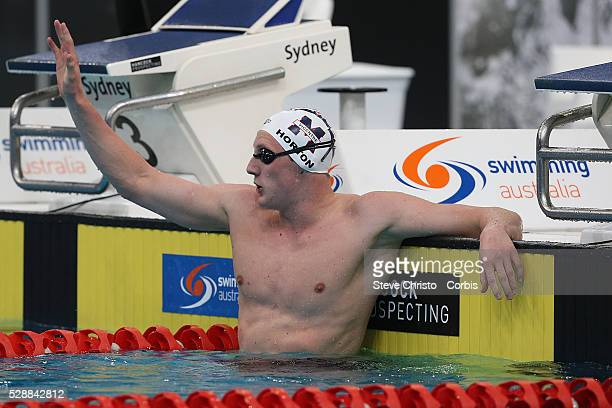 Mack Horton celebrates after winning the Men's 1500m Freestyle final during the Hancock Prospecting Australian Swimming Championships at the Sydney...