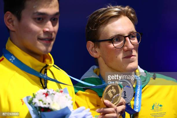 Mack Horton of Australia celebrates winning silver in the Men's 400m Freestyle Final on day ten of the Budapest 2017 FINA World Championships on July...