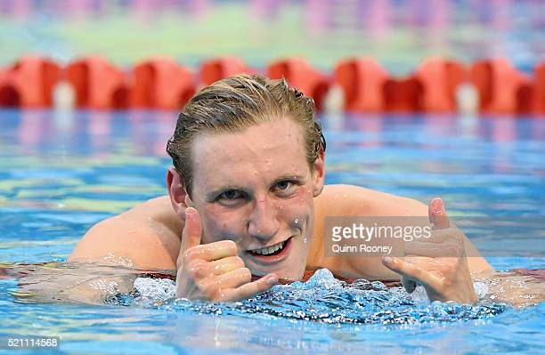 Mack Horton of Australia celebrates winning the Men's 1500 metre Freestyle during the 2016 Australian Swimming Championships at the South Australia...