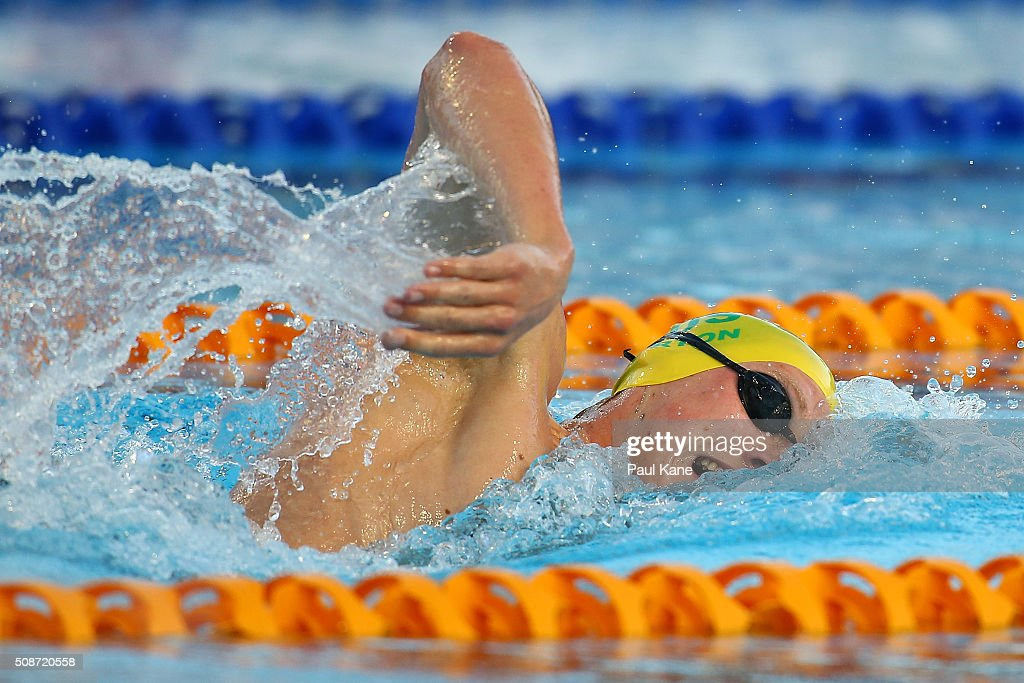 <a gi-track='captionPersonalityLinkClicked' href=/galleries/search?phrase=Mack+Horton&family=editorial&specificpeople=9061058 ng-click='$event.stopPropagation()'>Mack Horton</a> of Australia competes in the Men's 1500 Metre Freestyle during the 2016 Aquatic Superseries at HBF Stadium on February 6, 2016 in Perth, Australia.