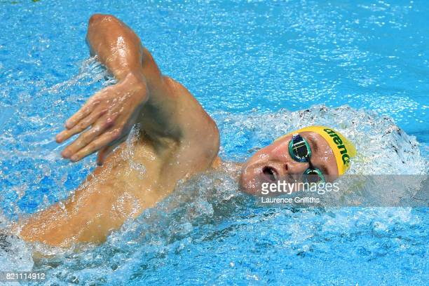 Mack Horton of Australia during the Men's 400m Freestyle Heats on day ten of the Budapest 2017 FINA World Championships on July 23 2017 in Budapest...