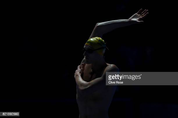 Mack Horton of Australia looks on prior to the Men's 200m Freestyle Semifinals on day eleven of the Budapest 2017 FINA World Championships on July 24...
