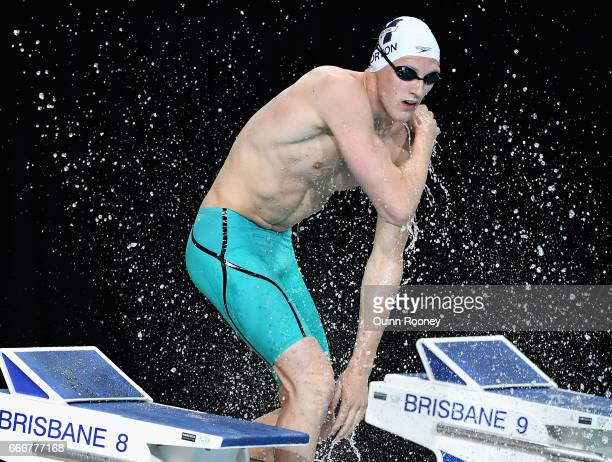 Mack Horton of Australia splashes himself with water before competing in the Men's 200m Freestyle during the 2017 Australian Swimming Championships...