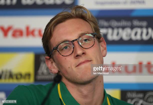 Mack Horton of Australia talks at a press conference at the Duna Arena on day eight of the FINA World Championships on July 21 2017 in Budapest...