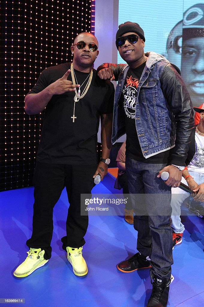 Mack Maine and <a gi-track='captionPersonalityLinkClicked' href=/galleries/search?phrase=Talib+Kweli&family=editorial&specificpeople=540348 ng-click='$event.stopPropagation()'>Talib Kweli</a> visit BET's '106 & Park' at BET Studios on March 18, 2013 in New York City.
