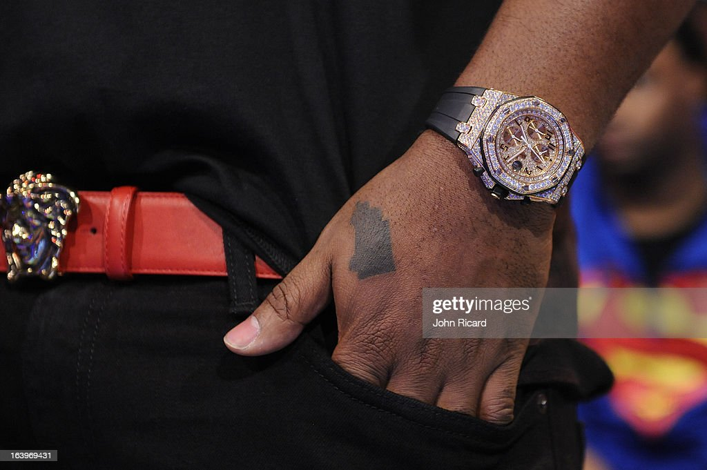 Mack Maine (watch detail/tattoo detail) visits BET's '106 & Park' at BET Studios on March 18, 2013 in New York City.