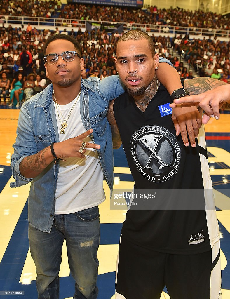 Mack Wilds and Chris Brown attend LudaDay Weekend Annual Celebrity Basketball Game at Georgia State University Sports Arena on September 6, 2015 in Atlanta, Georgia.