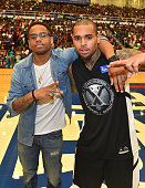 Mack Wilds and Chris Brown attend LudaDay Weekend Annual Celebrity Basketball Game at Georgia State University Sports Arena on September 6 2015 in...