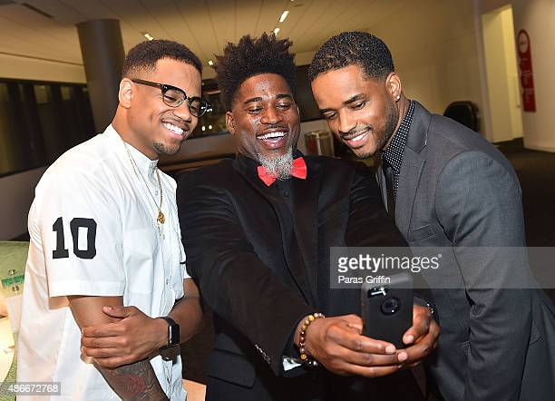 Mack Wilds David Banner and Larenz Tate attend LudaDay 'The Red Napkin' Dinner at CocaCola Headquarters on September 4 2015 in Atlanta Georgia