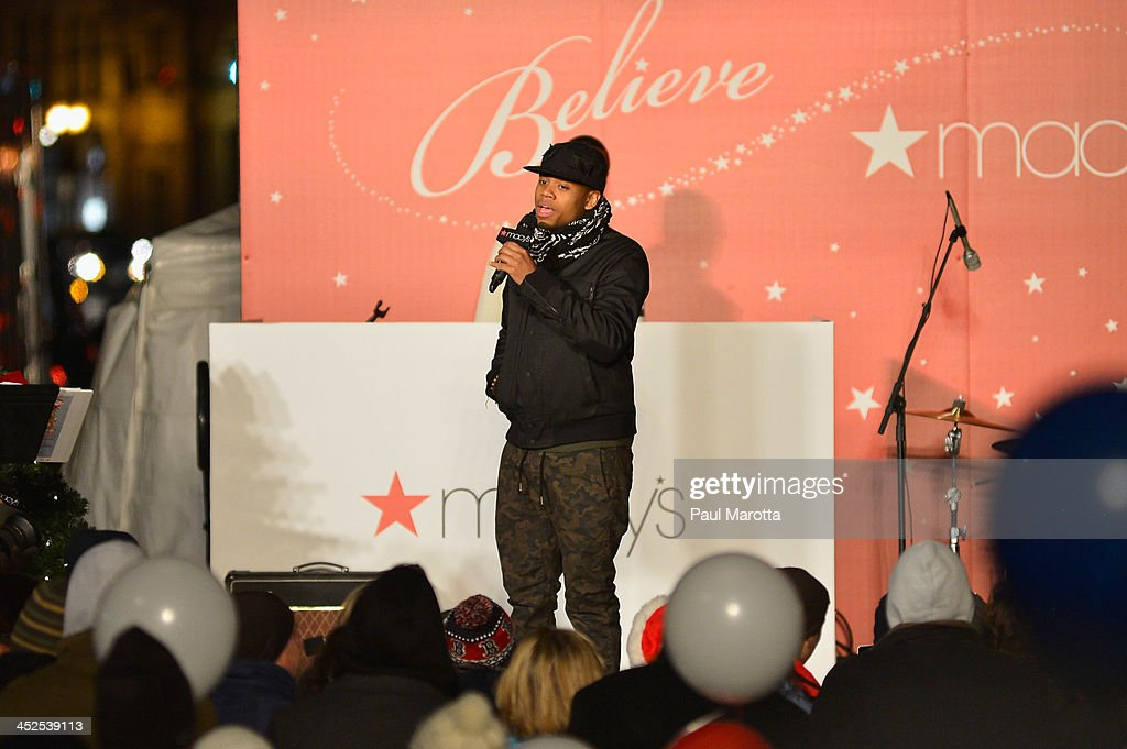 Mack Wilds performs at the Macy's Downtown Crossing 2013 Window Unveiling And Christmas Tree Lighting at Macy's Downtown Crossing on November 29, 2013 in Boston, Massachusetts.