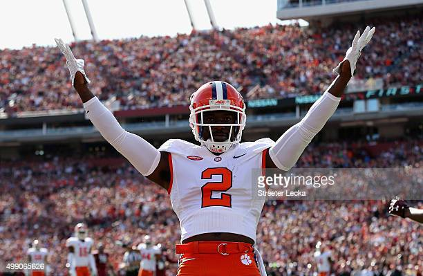 Mackensie Alexander of the Clemson Tigers reacts after breaking up a pass against the South Carolina Gamecocks during their game at WilliamsBrice...