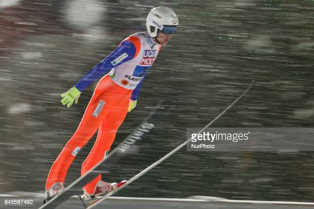 Mackenzie BoudClowes competes in the Mixed Team HS100 Normal Hill Ski Jumping during the FIS Nordic World Ski Championships on February 26 2017 in...