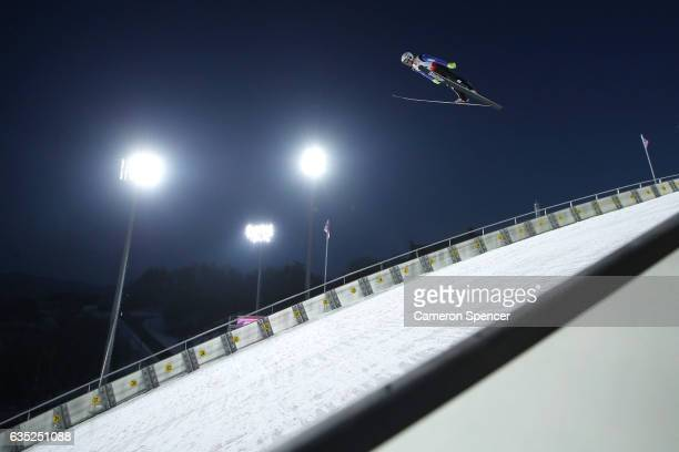 Mackenzie BoydClowes of Canada jumps during trainining for the 2017 FIS Ski Jumping World Cup test event For PyeongChang 2018 at Alpensia Ski Jumping...