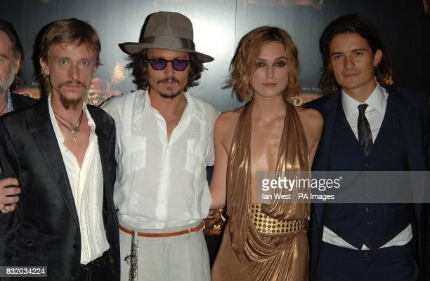 Mackenzie Crook Johnny Depp Keira Knightley and Orlando Bloom arrive for the European Premiere of Pirates of the Caribbean Dead Man's Chest at the...