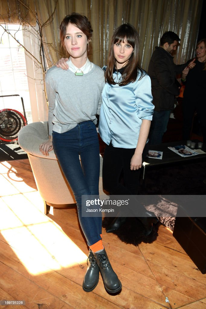 Mackenzie Davis and <a gi-track='captionPersonalityLinkClicked' href=/galleries/search?phrase=Felicity+Jones&family=editorial&specificpeople=5128418 ng-click='$event.stopPropagation()'>Felicity Jones</a> attend Day 2 of UGG at Village At The Lift 2013 on January 19, 2013 in Park City, Utah.