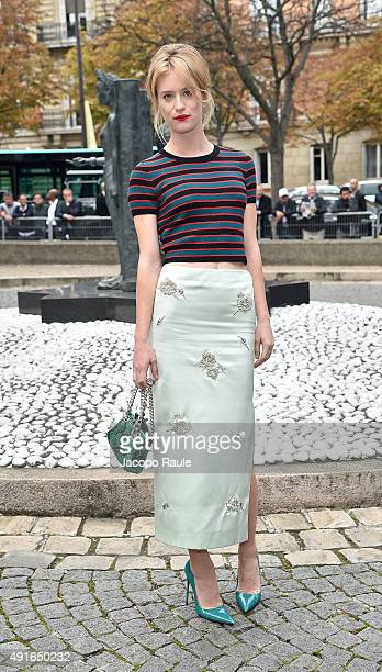 Mackenzie Davis arrives at the Miu Miu Fashion Show during the Paris Fashion Week S/S 2016 Day Nine on October 7 2015 in Paris France
