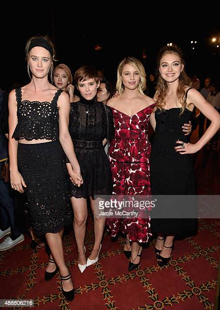 Mackenzie Davis Kate Mara Dianna Agron and Imogen Poots attend the Marc Jacobs Spring 2016 fashion show during New York Fashion Week at Ziegfeld...