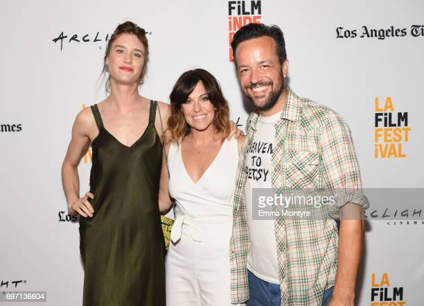 Mackenzie Davis Meghan Lennox and Christian Papierniak attend the 'Izzy Gets The Fuck Across Town' and 'Ok Call Me Back' Premieres during the 2017...