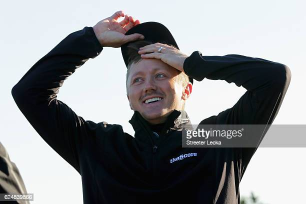 Mackenzie Hughes of Canada celebrates after winning the playoff in the final round of the RSM Classic at Sea Island Resort Seaside Course on November...