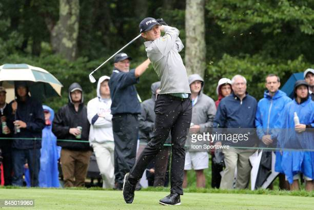 Mackenzie Hughes of Canada hits from the 8th tee during the third round of the Dell Technologies Championship on September 3 at TPC Boston in Norton...