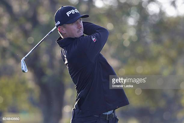 Mackenzie Hughes of Canada plays his tee shot on the 17th hole during the playoff in the final round of the RSM Classic at Sea Island Resort Seaside...