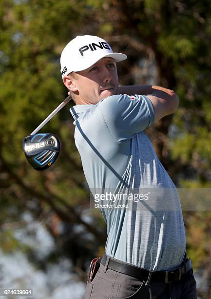 Mackenzie Hughes of Canada plays his tee shot on the 7th hole during the final round of the RSM Classic at Sea Island Resort Seaside Course on...