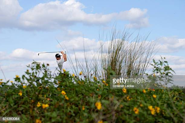 Mackenzie Hughes of Canada plays his tee shot on the 8th hole during the third round of the RSM Classic at Sea Island Resort Seaside Course on...