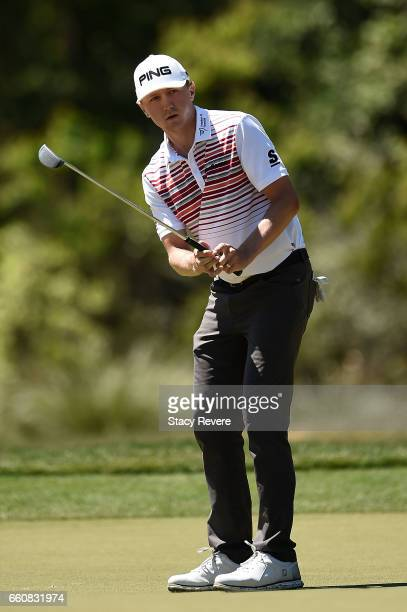 Mackenzie Hughes of Canada putts on the fifth green during the first round of the Shell Houston Open at the Golf Club of Houston on March 30 2017 in...