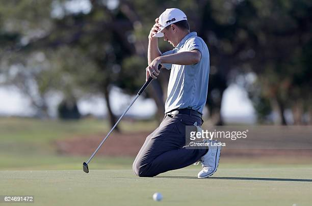 Mackenzie Hughes of Canada reacts after missing a putt on the 15th hole during the final round of the RSM Classic at Sea Island Resort Seaside Course...