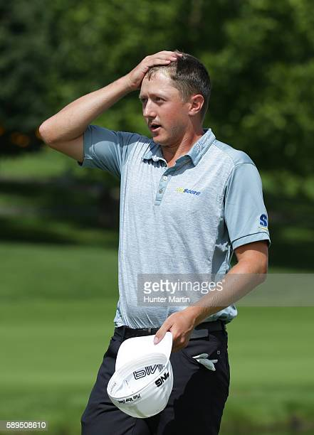 Mackenzie Hughes of Canada reacts after winning the Webcom Tour Price Cutter Charity Championship presented by Dr Pepper at Highland Springs Country...