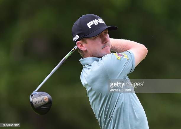 Mackenzie Hughes of Canada tees off the 11th hole during round one of The Greenbrier Classic held at the Old White TPC on July 6 2017 in White...