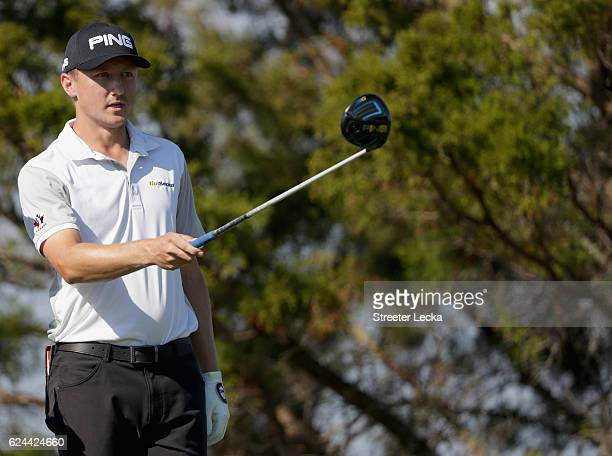 Mackenzie Hughes of Canada watches his tee shot on the 7th hole during the third round of the RSM Classic at Sea Island Resort Seaside Course on...