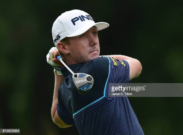 Mackenzie Hughes tees off the 14th hole during round two of The Greenbrier Classic held at the Old White TPC on July 7 2017 in White Sulphur Springs...