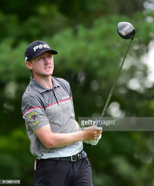 Mackenzie Hughes tees off the sixth hole during round three of The Greenbrier Classic held at the Old White TPC on July 8 2017 in White Sulphur...