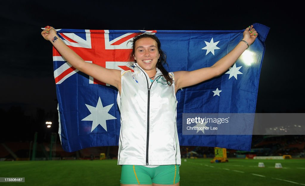 Mackenzie Little of Australia celebrates winning the Gold medal in the Girls Javelin Throw Final during Day 2 of the IAAF World Youth Championships at the RSC Olimpiyskiy Stadium on July 11, 2013 in Donetsk, Ukraine.